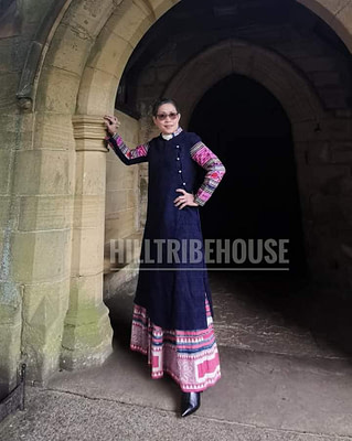 #เสื้อคลุมยาวผ้าใยกัญชงแขนผ้าปักม้งโบราณสีชมพู